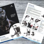 Ontwikkeling Product Folder / Brochure Athlon SL Rollator Rehasense Europe